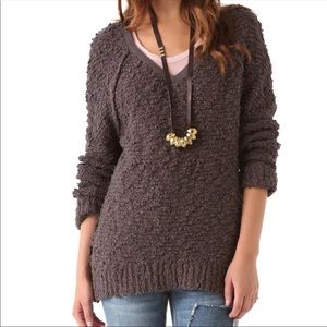 Free People Song Bird brown knit sweater small